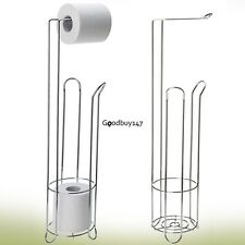 Free Standing Toilet Paper Holder Stand Stainless Bathroom Tissue Roll Organizer