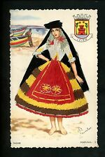 Embroidered clothing postcard Artist Elsi Gumier Portugal Nazare woman #3