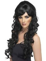 Womens Long Black Curly Wig Pop Starlet Glamour Fancy Dress Party Sexy Accessory