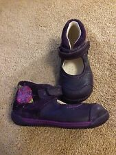 Clarks First Shoes Girls Purple Boots Uk 5.5F Toddler Boots Purple Flower Design