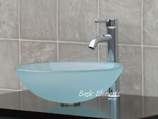 Bathroom Frosted Glass Vessel Vanity Sink Faucet T12FD3