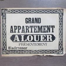 AFFICHE ANCIENNE 1810 GRAND APPARTEMENT A LOUER MAISON IMMOBILIER IMPRIMERIE