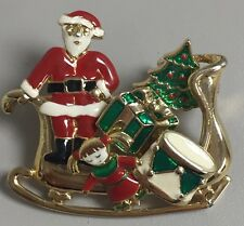 Santa Sleigh Multi Piece Christmas Holiday Brooch Scatter Pins Doll Gift Tree