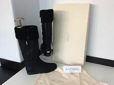 *reduced* JIMMY CHOO Size 37 Uk 4 RRP £775 BLACK SUEDE KNEE High BOOTS Brand NEW