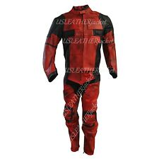 Deadpool Black Red Real Leather Suit Jacket Pants for Costume and Motorcycle USE