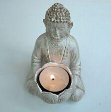 Buddha Tea Light portacandele seduto ornamento 14cm Home Crema Figura Decor NUOVO