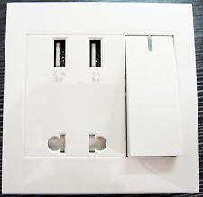 Dual USB Port Electric Wall Charger Power Outlet Panel Plate Dock Station Socket