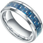 Tungsten Carbide Ring Blue Carbon Fiber Inlay Men's Womens Wedding Band Jewelry