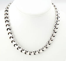 Vtg Sterling Silver Inter-Tab Link Necklace Chain HEAVY 57g 17""