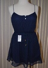 Women's Zara dress thin strap navy polka dot European import size medium NWT