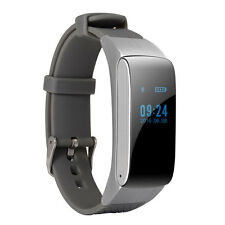 DF22 2-in-1 Bluetooth Smart Wrist Bracelet Headset Earphone for Android Silver