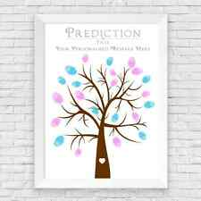 BABY SHOWER FINGER PRINT TREE / PREDICTION CARDS ALTERNATIVE, GAME, GIFT FOR MUM