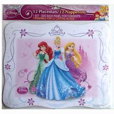 DISNEY Princess Placemats ARIEL CINDI TANGLED BIRTHDAY PARTY SUPPLIES 12 PC SET