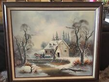 Vintage Oil Painting On Canvas Of Winter Scene Sled And Horse / Larry Mayer