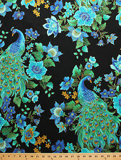 Peacock Feathers Flowers Metallic Plume Cotton Fabric Print by the Yard D778.34