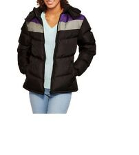 Climate Concepts Women's Chevron Hooded Puffer Coat 1X Black/Purple New