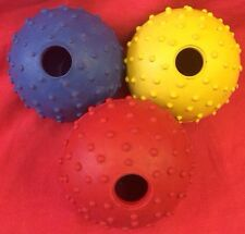 Rubber Pimple Balls X 3 And Bell YELLOW  RED BLUE Hard Wearing Exerciser 2 Inch