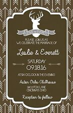 Wedding Invitations Deer Head Herringbone Rustic 50 Invitations & RSVP Cards