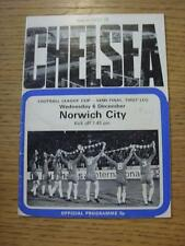06/12/1972 FOOTBALL LEAGUE CUP SEMIFINALE: Chelsea V Norwich City (lievi MARKI