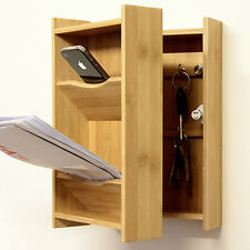 Bamboo Wall-Mounted Keys and Letter Holder, Keys Organiser Cabinet Storage
