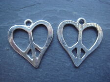 3 silver heart Peace Sign 21mm Tibetan Style pendants / charms