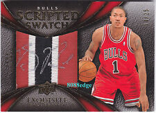 2008-09 EXQUISITE ROOKIE SCRIPTED PATCH AUTO: DERRICK ROSE #14/25 RC AUTOGRAPH