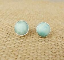 Large Round Larimar 925 Silver Stud Earrings Indian Jewellery