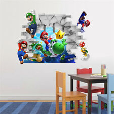 Kids Super Mario Bros 3D View Art Wall Stickers Decal Mural Home Decor Removable