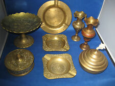 8 Antique Brass Mix Lot Made Germany & India All 3 lbs10 oz Ashtrays,Vases,Lamp