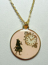 Pink 'Alice' pendant - 17.5'' gold colour chain