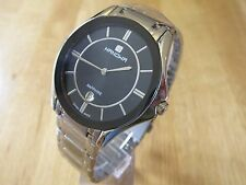 MENS SWISS MILITARY HANOWA WATCH BLACK DIAL DATE WINDOW STAINLESS STEEL BRACELET