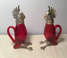 Cartier Vintage Pair Sterling Silver & Ruby Red Glass Figural Parrot Pitchers