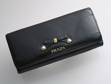 G7687 Authentic PRADA Ribbon Genuine Leather Bifold Long Wallet *Defect