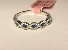 $1,580.00 New 14k White Gold Sapphire and Diamond Band Ring size 7