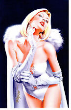 SEXY WHITE QUEEN - EMMA FROST SIGNATURE EDITION  ART PRINT Signed By MIKE MAYHEW