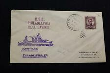 NAVAL COVER 1935 DUPLEX CANCEL KEEL LAYING USS PHILADELPHIA (CL-41) (284)