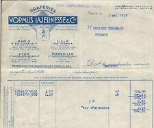 PARIS LYON LILLE MARSEILLE FACTURE DRAPERIES VORMUS LAJEUNESSE 1939