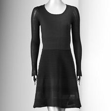 NWT Simply Vera Wang Pointelle Fit & Flare Black Sweater Dress Size Medium $88