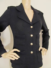 NEW ST JOHN KNIT SZ 8 WOMENS SUIT JACKET BLAZER BLACK CAVIAR SANTANA KNIT WOOL