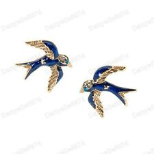 SWALLOW BIRD STUDS kitsch RETRO EARRINGS crystal stones enamel NAVY/GOLD TONE