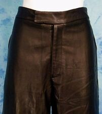 LADiES EUC ViNTAGE 80s SOFT BLACK LEATHER BiKER CHiC FLAT FRONT PANTS 32-34/w
