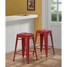 24 in Red Metal Counter Stools Set of 2 Bar Seat Chair Kitchen Barstool Table