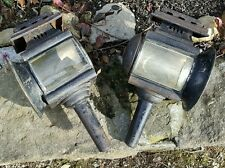Antique Vintage Pair of Buggy Carriage Auto? Lamps Lanterns Lights - FREE Ship