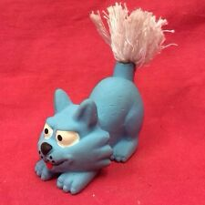 Dog Toy 3 Inch Tall Latex Squeaky Blue Cat With White Rope Tail