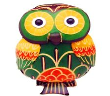 Ladies Green Yellow Owl Bird Leather Coin Purse Wallet w/ removable wrist strap