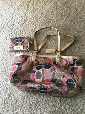 Coach F19464 Gallery Scarf Print Sateen Tote Multicolor Medium And Wallet