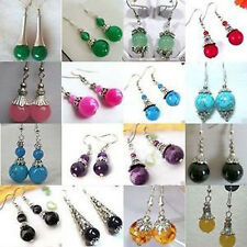 Beautiful handmade the Tibet silver multicolor jade earrings 16 pair