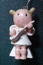 Vintage Miniature Wooden Girl Angel with Mandolin Christmas Ornament