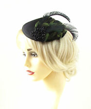 Black Green Feather Fascinator Headpiece Hat Pillbox Vintage Races 40s Hair 823