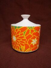 vtg Sugar Bowl Jar Holder Lid Box Storage Orange Mod Flower Power Floral 1960's
